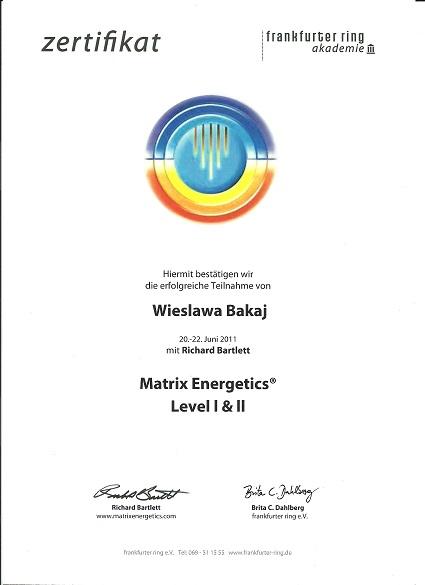 metoda dwupunktu, certyfikat Wieslawa Bakaj