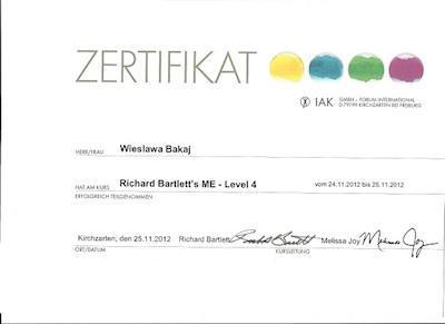 certyfikat Wieslawa Bakaj